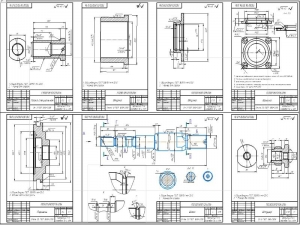 6.Рабочие чертежи деталей: поршень, шток, штуцер, гайка специальная, втулка, втулка 2