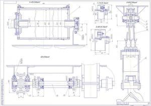 Чертеж сечений с чертежа №3 с размерами (формат А1)