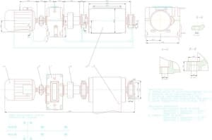 6.Чертеж общего вида привода ленточного транспортера, с техническими характеристиками