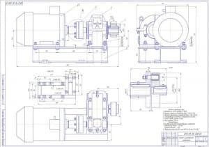 6.Сборочный чертеж привода с цилиндрическим редуктором в масштабе 1:2