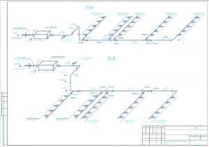 7.Чертеж схем приточных систем П-3, П-4 (формат А2)