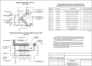 7.Сборочный чертеж фрагмента фасада в масштабе 1:100, плана металлической лестницы на отметке 3.300 в масштабе 1:50