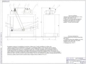 Чертеж общего вида стенда для испытания и обкатки компрессора с техническими характеристиками