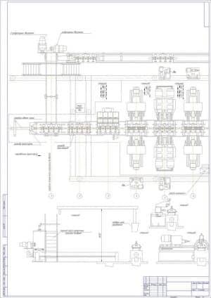 7.Чертеж плана 1 с указанием двух редукторных двигателей, тара заготовок, середины автоматической линии, цилиндров транспорта и фиксаторов, направления транспорта, середины поперечного рольганга возврата, всех станций, перехода через поперечный рольганг