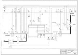 7.Чертеж функциональной схемы защиты котла, с указанными элементами: аварийная сигнализация, экономайзер, дымосос, вентилятор, клапан-отсекатель, шкафы (формат А1)