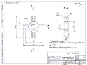 8.Деталь крестовина - неуказанные радиусы скруглений R=1 мм. Из материала лист 20 ГОСТ 19904-90/12Х18Н10Т (формат А3)