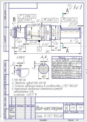 8.Деталировка – вал-шестерня (формат А4)