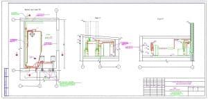 8.Чертеж расположения трубопроводов, фрагмента плана 1 этажа на отметке 10.500 в масштабе 1:50 и разрезов 1-1 и 2-2, с указанными отметками (формат А3х2)