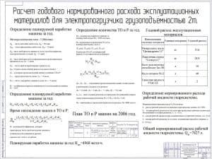 Чертеж расчета годового нормированного расхода эксплуатационных материалов для электропогрузчика грузоподъемностью 2