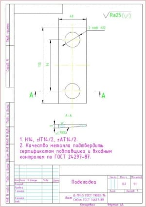 9.Деталь подкладка массой (материал: Лист Б-ПН-5 Г0СТ 19903-74/Ст3сп Г0СТ 14637-89) (формат А4)