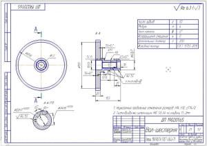 9.Рабочий чертеж вала-шестерни (формат А3)