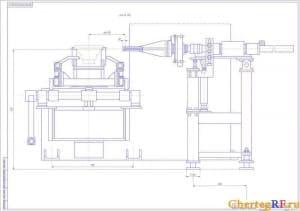 Чертеж кантователя в сборе с техническими требованиями: реечные передачи смазать смазкой ЦИАТИМ-201 ГОСТ6267-74, точность позиционирования +/- 1мм, точность поворота заготовки +/- 3 градуса (формат А1)