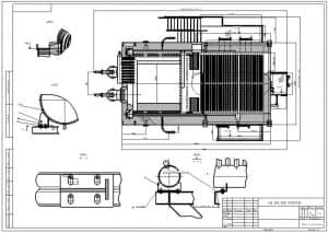9.Сборочный чертеж котла 10-13-23-D в масштабе 1:20, с указанием размеров (формат А3)