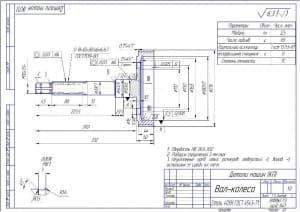 9.Чертеж детали вал-колесо в масштабе 1:2 (материал: Сталь 40ХН Г0СТ 4543-71), с техническими требованиями