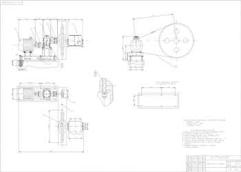 Чертежи привода ленточного конвейера: общий вид, сборочные вертикального цилиндрического редуктора, цепной передачи, клиноременной передачи, упругой и комбинированной муфт, чертежи деталей