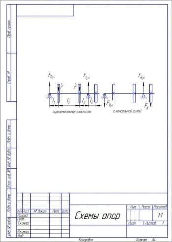10.Чертеж схем опор 3 в двух проекциях – горизонтальная плоскость, с консольной силой (формат А4)