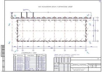 10.Чертеж плана расположения колонн и вертикальных связей со спецификацией к плану и с примечанием