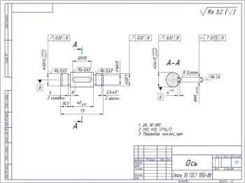 Ось – материал изготовления сталь 30 по ГОСТу 1050-88. (формат А3)