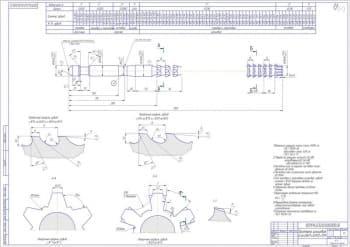 Чертеж протяжки шлицевой d-6 28H7 32H12 7D9 с техническими требованиями