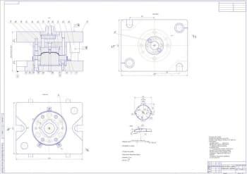 Сборочный чертеж штампа для обрезки и пробивки с техническими требованиями