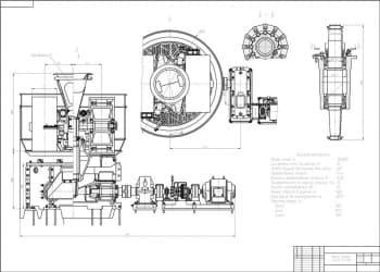 Сборочный чертеж бегунов мокрого помола модели См-365 с техническими характеристиками