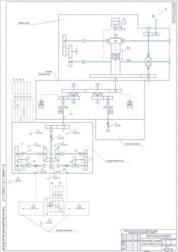 Набор чертежей кинематических схем автоматической линии обработки чашки дифференциала при ремонте автомобиля КАМАЗ