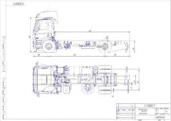 Чертеж общего вида автомобиль DAF-CF75 с габаритными размерами