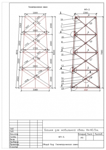 Рабочие чертежи башни для мобильной связи высотой 40,5 м