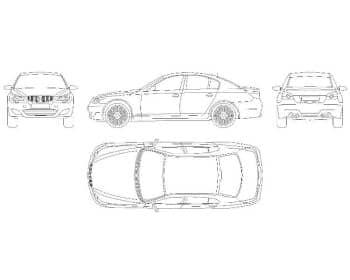 11.Чертеж вида общего автомобиля легкового BMW m5 в различных проекциях – виды спереди, сбоку, сзади и сверху (формат А1)