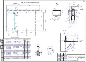 11.Чертеж плана расположения монорельса с разрезами 1-1, а-а, со спецификацией (формат А3)