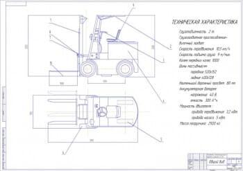 1.Общий вид электропогрузчика с каретной поперечного смещения общей грузоподъемностью 2 тонны, в масштабе 1:5