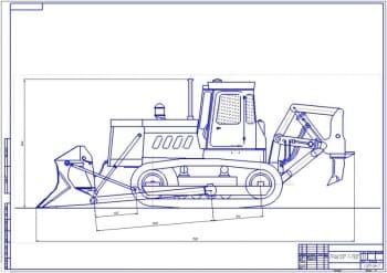 Чертеж трактора Т-130Г