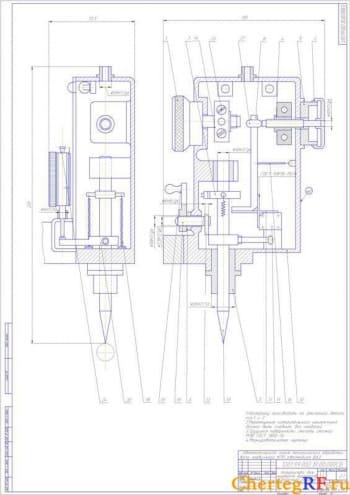 Чертеж устройства для контроля диаметров в Компасе
