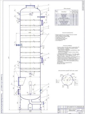 Чертежи колонного тарельчатого аппарата для получения дизельного топлива