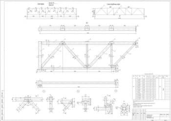 Чертеж проектирования стального каркаса одноэтажного промышленного здания, фермы стропильной