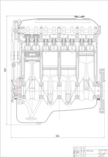 Чертеж вид общий четырехтактного двигателя