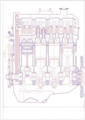 Чертеж вид общий двигателя ВАЗ 2103