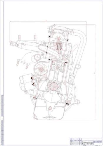 Чертеж вид общий двигателя ВАЗ 2109
