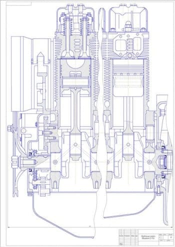 Чертеж вид общий двигатель Д-144