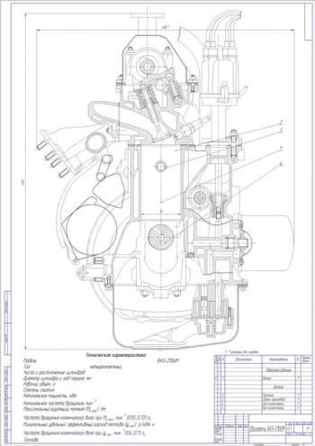 Чертеж вид общий двигатель ВАЗ-2106М
