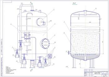 Чертеж Na-катионитного фильтра второй ступени ФИПall-1.0-0.6- Na