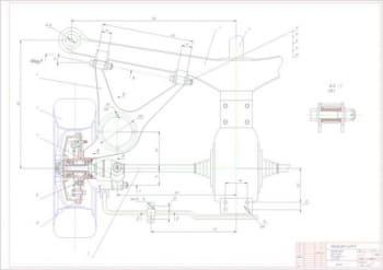 Чертеж задней подвески легкового автомобиля ГАЗ-3102 с деталями