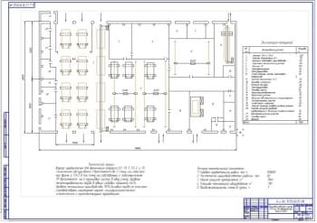 Чертеж производственного корпуса СТО АТП на 110 автомобилей КамАЗ-5320