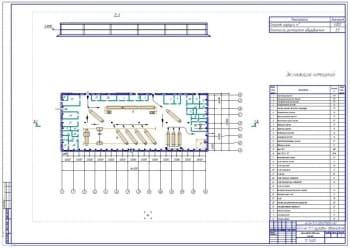 1.План проектирования главного производственного корпуса (ГПК) АТП производственной мощностью на 173 грузовых автомобиля  (формат А1)