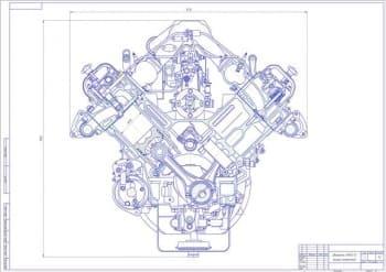 Чертеж вид общий двигатель ЯМЗ-238 (8ЧН13/14)