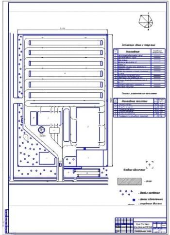 Чертеж генплан АТП на 500 автомобилей ГАЗ-3307
