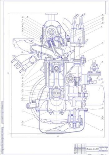 Чертеж двигателя ВАЗ-21011 в сборе