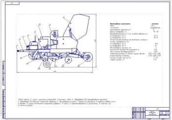 Чертеж картофелесажалки СК-4М с протравливателем клубней