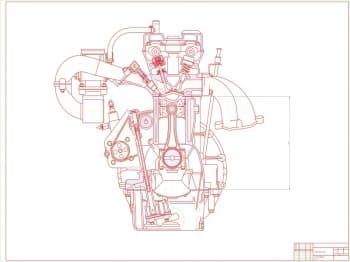 Поперечный разрез. Бензиновый двигатель ЗМЗ 406 с непосредственным впрыском. На чертеже отмечены внешние габаритные размеры. (формат А1)