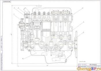 Сборочный чертеж системы охлаждения   двигателя  ЗМЗ-4061 усовершенствованной для автомобиля «Газель»